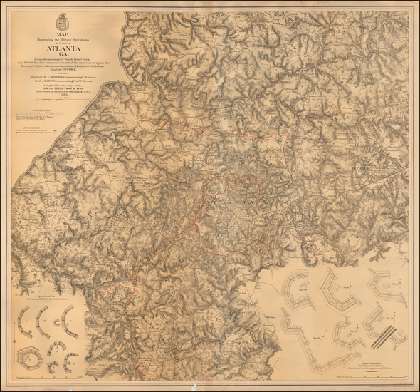 65-Georgia and Civil War Map By U.S. War Department