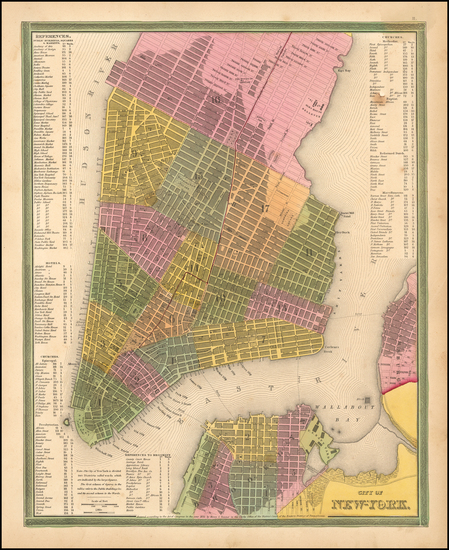 New York City Map By Samuel Augustus Mitchell