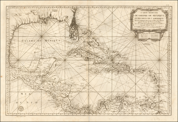 54-Florida, South, Texas and Caribbean Map By Depot de la Marine