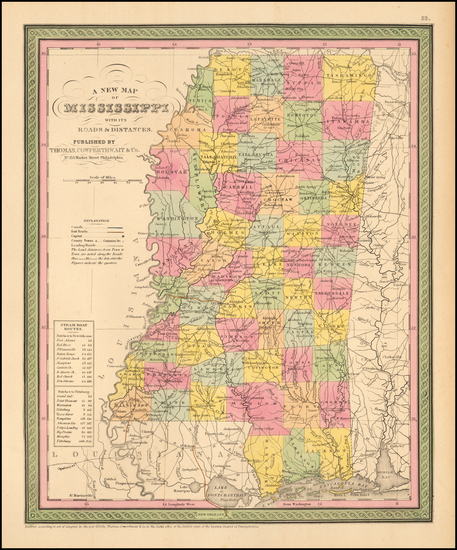 70-South and Mississippi Map By Thomas, Cowperthwait & Co.