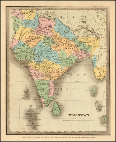 93-India Map By David Hugh Burr