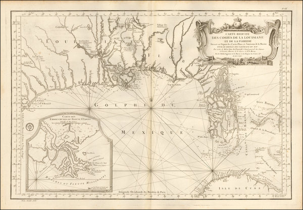 95-Florida, South, Louisiana, Alabama and Mississippi Map By Jacques Nicolas Bellin