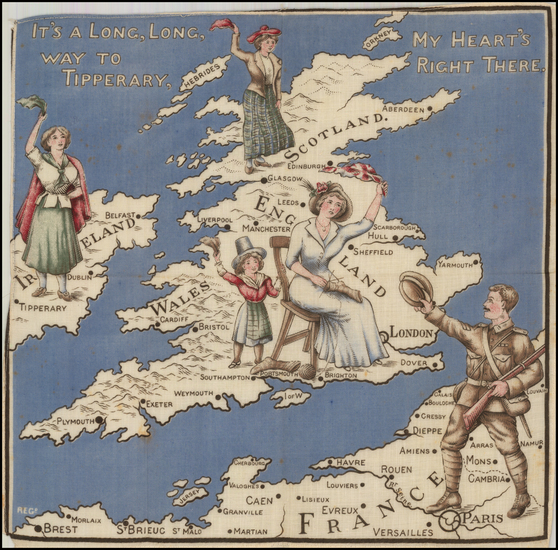 British Isles and Curiosities Map By