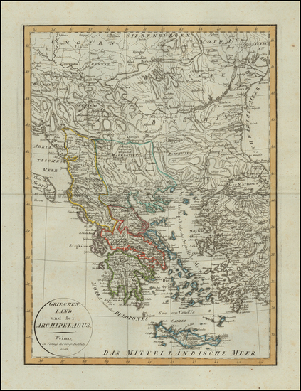 36-Greece Map By Weimar Geographische Institut
