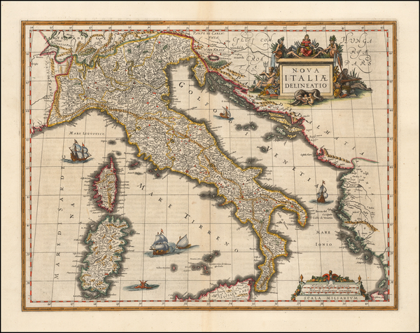 62-Italy Map By Willem Janszoon Blaeu