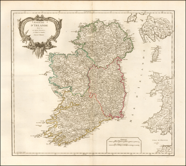 96-Ireland Map By Gilles Robert de Vaugondy