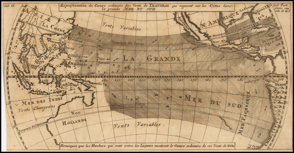 74-Pacific Ocean, Pacific, Australia and California Map By Jacques Nicolas Bellin