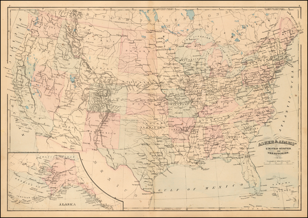 81-United States Map By Asher  &  Adams