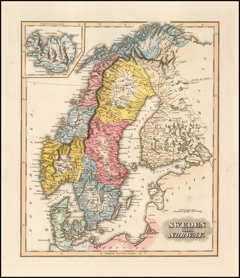71-Scandinavia, Iceland, Sweden and Norway Map By Fielding Lucas Jr.