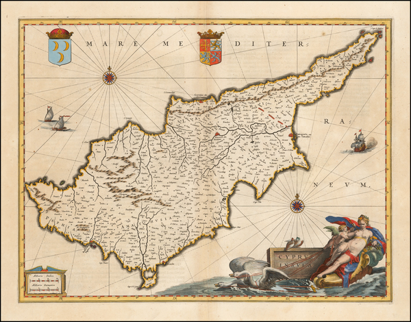 8-Cyprus Map By Willem Janszoon Blaeu