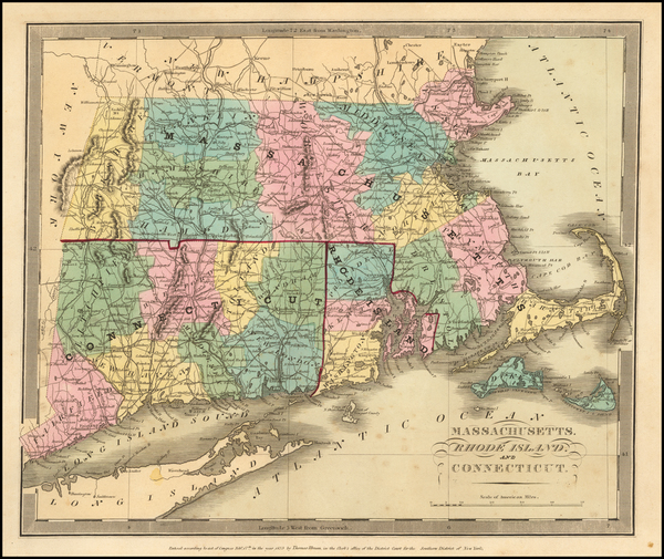 55-New England Map By David Hugh Burr