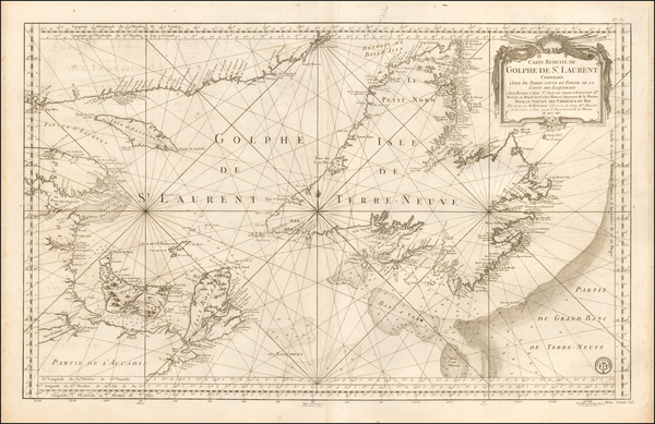 Canada Map By Jacques Nicolas Bellin