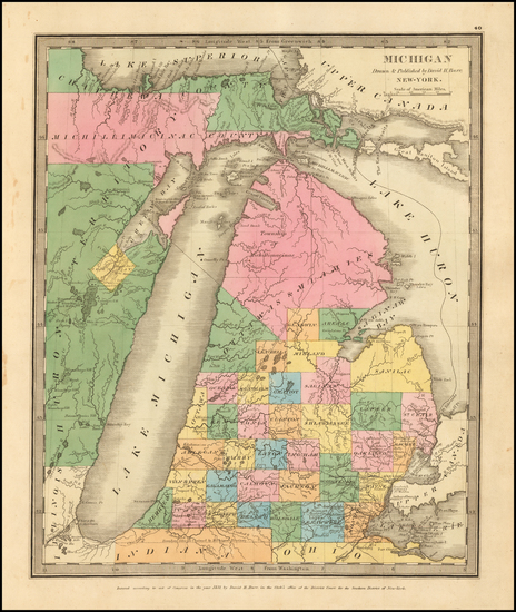 28-Michigan Map By David Hugh Burr