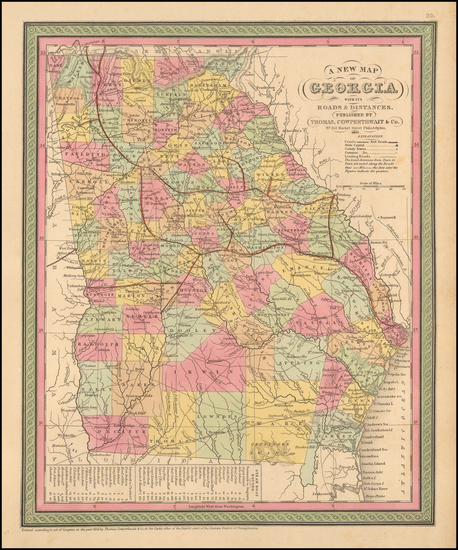 16-Georgia Map By Thomas, Cowperthwait & Co.