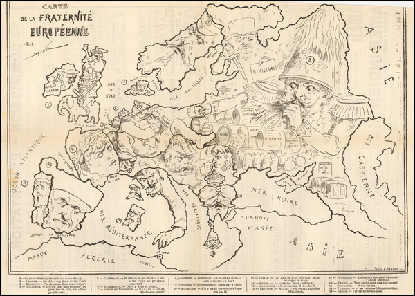 77-Europe and Curiosities Map By Yves & Barret