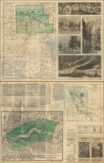 California and Yosemite Map By J.C. Henkenius / Sunset Press