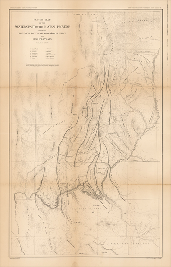 64-Southwest, Arizona and Utah Map By Clarence E. Dutton