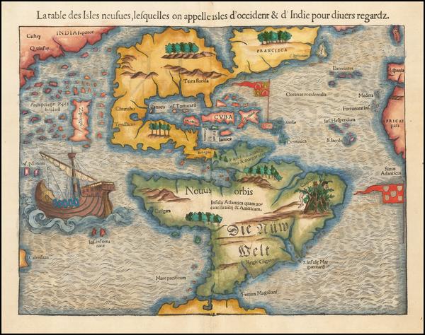 14-Western Hemisphere, North America, South America, Japan and Pacific Map By Sebastian Munster