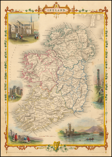 Ireland Map By John Tallis