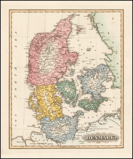 Denmark Map By Fielding Lucas Jr.