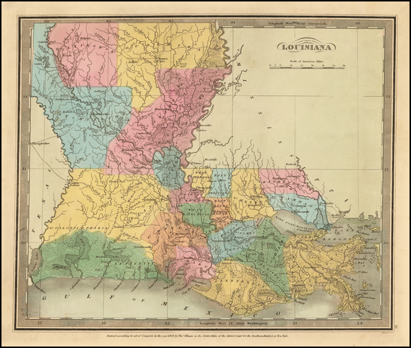43-Louisiana Map By David Hugh Burr