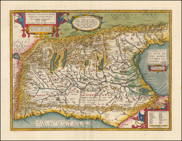 95-Switzerland, Austria and Northern Italy Map By Abraham Ortelius