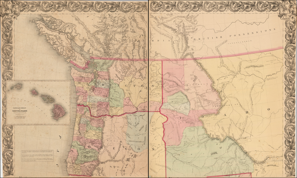 10-Idaho, Montana, Wyoming, Oregon and Washington Map By H.H. Bancroft & Company