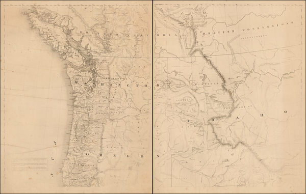 58-Idaho, Montana, Pacific Northwest, Oregon, Washington and British Columbia Map By H.H. Bancroft
