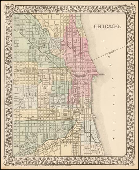 53-Illinois Map By Samuel Augustus Mitchell Jr.