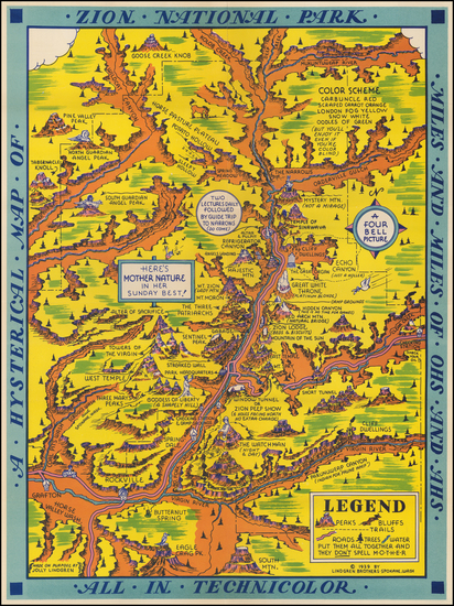 53-Utah, Utah and Pictorial Maps Map By Lindgren Brothers