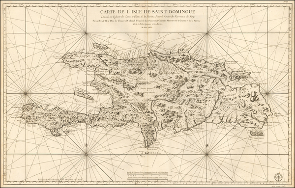 55-Hispaniola Map By Jacques Nicolas Bellin
