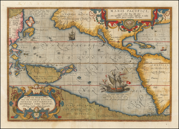 94-Western Hemisphere, Polar Maps, Japan, Pacific, Australia and America Map By Abraham Ortelius