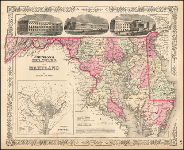 19-Washington, D.C., Maryland and Delaware Map By Benjamin P Ward  &  Alvin Jewett Johnson