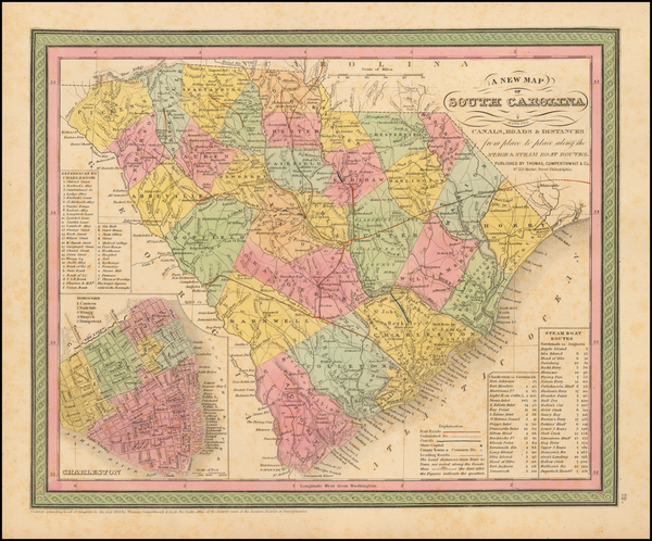 92-Southeast and South Carolina Map By Thomas, Cowperthwait & Co.