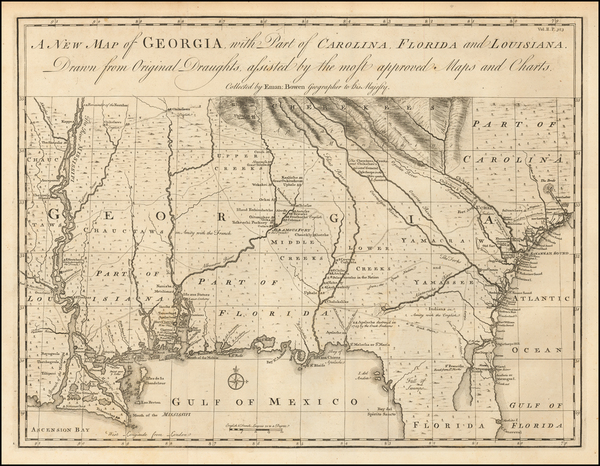 18-South, Louisiana, Mississippi, Southeast and Georgia Map By Emanuel Bowen