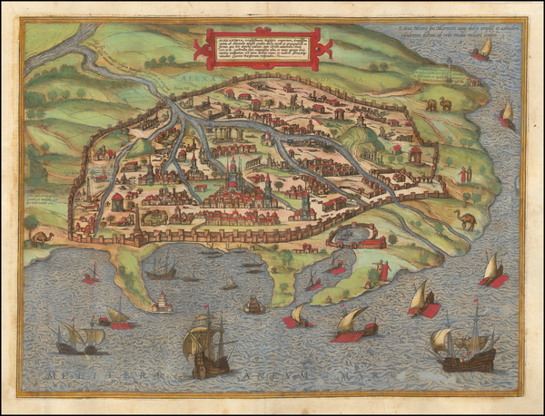 4-Egypt Map By Georg Braun  &  Frans Hogenberg