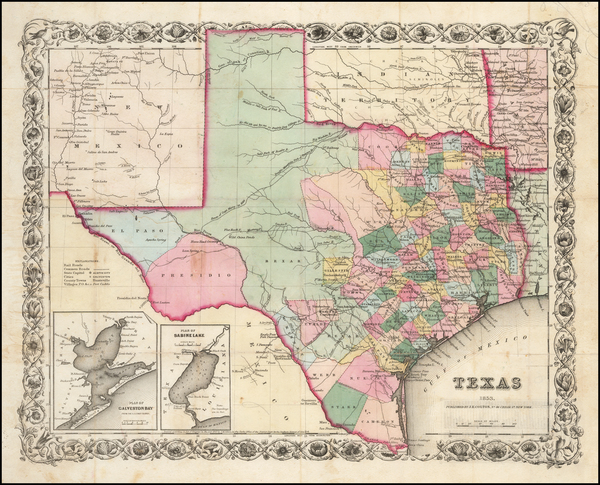 87-Texas Map By Joseph Hutchins Colton