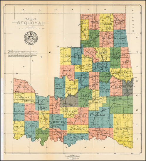 85-Oklahoma & Indian Territory Map By Aug. Gast Bank Note & Litho. Company