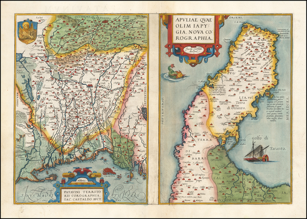9-Northern Italy and Southern Italy Map By Abraham Ortelius