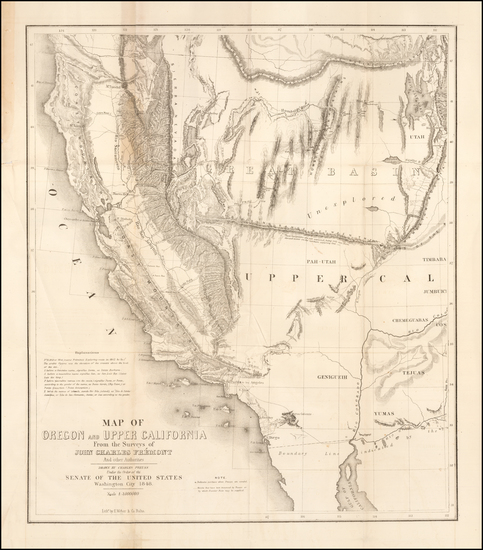 53-Southwest, Arizona, Utah, Nevada, Utah and California Map By John Charles Fremont / Charles Pre