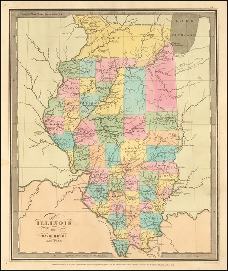 100-Illinois Map By David Hugh Burr