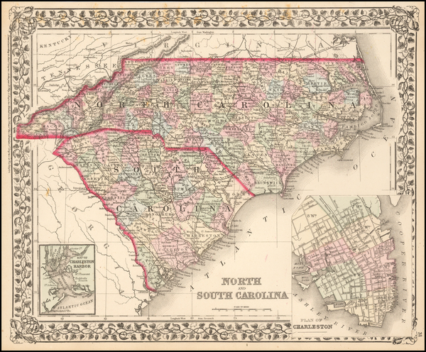 11-Southeast, North Carolina and South Carolina Map By Samuel Augustus Mitchell Jr.
