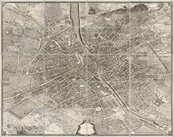 25-France and Paris Map By Michel-Étienne Turgot  &  Louis Bretez