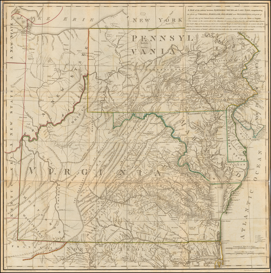 64-Mid-Atlantic, Pennsylvania, Maryland, Delaware, Southeast, Virginia and Rare Books Map By Thoma