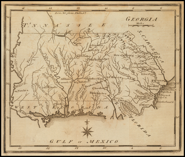 South, Southeast and Georgia Map By Joseph Scott