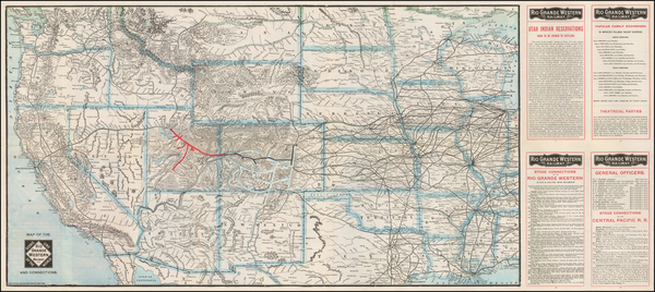 95-Plains, Southwest, Colorado, Utah, Rocky Mountains, Colorado and Utah Map By Poole Brothers