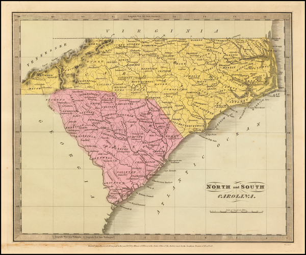 5-North Carolina and South Carolina Map By David Hugh Burr