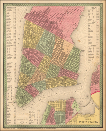 37-New York City Map By Thomas, Cowperthwait & Co.