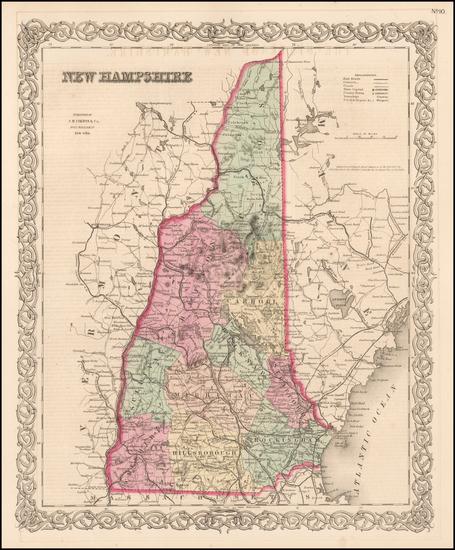 2-New Hampshire Map By Joseph Hutchins Colton