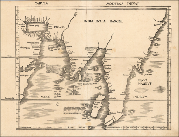 14-Indian Ocean, China, India, Southeast Asia and Malaysia Map By Martin Waldseemüller